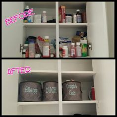 Medicine Cabinet organization with Thirty-One Oh Snap Bins.