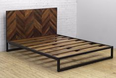 - Reclaimed Teak Headboard - Iron Frame disassembles Solid Hardwood Bed Slats - Queen: W x x H King: W x D x H Queen Spec Sheet King Spec Sheet Iron Furniture, Pallet Furniture, Furniture Projects, Bedroom Furniture, Furniture Design, Diy Projects, Furniture Nyc, Furniture Online, Cheap Furniture