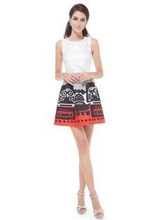 Alisa Pan Sleeveless Aztec Print Short White Casual Dress - Ever-Pretty US
