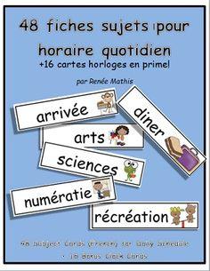 Affichez l'horaire quotidien de la classe en français! Voici une série de 48 fiches pour tous les sujets et différentes activités d'une journée à l'école! Les fiches sont simples et facile à lire et chacune a une image mignonne et amusante pour les enfants.   En prime, 8 cartes horloges analogues, 8 cartes pour écrire l'heure numérique ainsi que 3 cartes vides pour personnalisation sont incluses.  $4.00