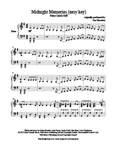 Midnight Memories - One Direction (easy key) free piano sheet music. www.PianoBragSongs.com.