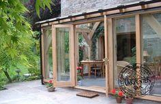 Oak Timber French Doors in Oak Timber Framed Conservatory