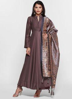 This elegant lavender muslin bias cut dress has a band collar and full sleeves with fabric buttons o. Salwar Suits, Salwar Kameez, Bias Cut Dress, Clothing Websites, Designer Wear, Digital Prints, Collars, Duster Coat