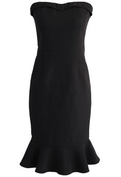 Simple Sophistication Strapless Body-con Dress in Black - New Arrivals - Retro, Indie and Unique Fashion