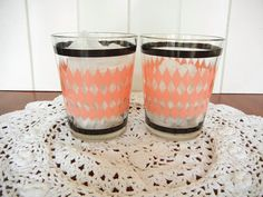 1950's retro pink diamond rocks glasses  set of 2 by LisaAlso, $11.00
