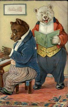 Image result for Vintage postcard - The Ice Skating Bears, Raphael Tuck