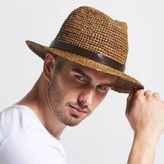 3267acc1325 Coffee straw panama hat with leather hatband for men summer beach sun hats