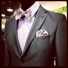#gray #suit #suitandtie #bowtie #pink #paisley #pinstripe #plaid #shirt #menswear #mensfashion #dapper #style