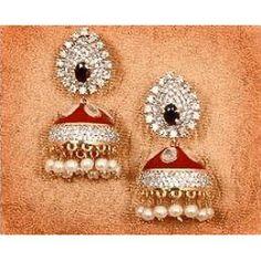 Red Enamel Jhumka Earrings