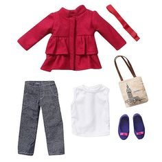 Fashion Doll: Journey Girls 18 inch Doll Fashion Outfit  Pink Pea Coat with White Tank Top Denim Pants  Accessories -- Learn more by visiting the image link.