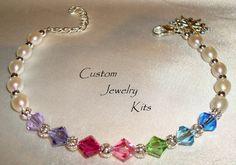 Freshwater pearl multicolor Swarovski crystal bracelet kit with extender chain