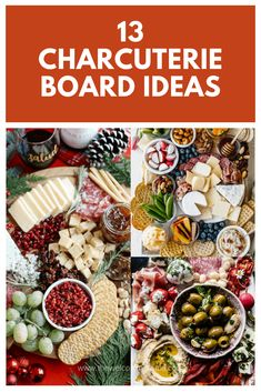 Charcuterie boards are perfect for easy, no-fuss entertaining. In this post, I share 13 charcuterie board ideas that are both beautiful and fun! Brunch Ideas For A Crowd, Appetizers For A Crowd, Food For A Crowd, Appetizers For Party, Appetizer Recipes, Party Snacks, Parties Food, Appetizer Ideas, Thanksgiving Appetizers