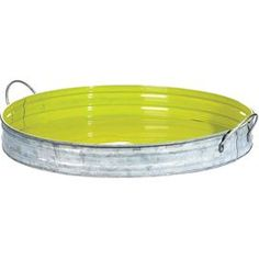 """Tin tray with a bright green interior and two handles.   Product: Tray Construction Material: TinColor: Silver and green Features: Two handlesDimensions: 2"""" H x 14.75"""" DiameterCleaning and Care: Wipe with a damp cloth"""