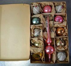 """Antiker Weihnachtsschmuck """" Lauscha """" Glaskugeln Christbaumspitze u. 11 Kugeln in Sammeln & Seltenes, Saisonales & Feste, Weihnachten & Neujahr   eBay"""