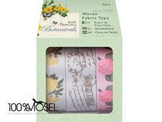 Gemustertes Stoff-Klebeband (3 Stück) - Botanicals (Patterned Craft Tape)  Selbstklebendes Satinband im 3-er Set mit Blumen- und Vintagemustern in den Farben rosa, gelb, weiß, grün und grau.  Auf...