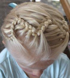 zigzag lace braid headband into single braid updo