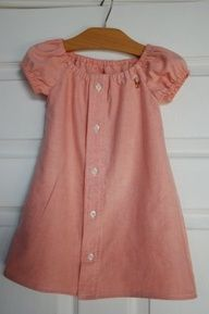 Dont throw out dads old button down shirts, recycle them into a cute little girls dress! Adorable.