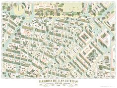 Map of the Barrio de las Letras, Madrid, by cartoonist and illustrator Andrés Lozano