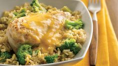 In just over half an hour, busy cooks can put dinner on the table. Chicken, broccoli and rice make it a colorful meal-in-one.