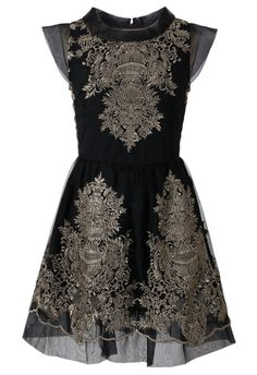 Organza Embroidery Black Dress - New Arrivals - Retro, Indie and Unique Fashion