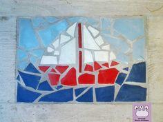 mosaico, disegno barchetta, crealizzato con scarti di mattonelle rotte per una casa al mare
