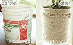 DIY Jute Bucket Makeover - Blooming Homestead planters to flank the sliding doors For fiddle leaf fig in living room DIY Jute Bucket Makeover DIY Jute Bucket Makeover - old homeowner left about 20 old buckets for us. Reusing a container or pet food, pain Home Crafts, Diy Home Decor, Diy Crafts, Diy Garden Decor, Paint Buckets, Paint Pots, Painted Clay Pots, Backyard Makeover, Diy Planters