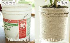 DIY Jute Bucket Makeover ...super inexpensive plant holder!
