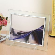 Framed Moving Sand Time Glass Picture Home Office Desk Decor Gift Flowers Moon