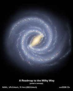 This diagram was created by Robert Hurt at Caltech to show what our Milky Way Galaxy might look like from above.