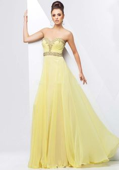 2017 Vestidos Sweetheart Crystal Long A Line Yellow Chiffon Evening Dresses Prom Party Dress New Arrival Fashionable