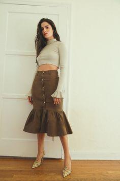 eef7f6e357194 Luka Ruffle Skirt Dark Brown