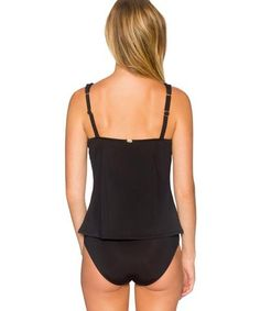 Sunsets Separates Black - Underwire Bandeau Braided Strap Tankini Top - Beachbliss Swimwear & Apparel - 2