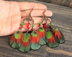 "Green Earrings Green Feather Earrings Celtic Feather Earrings Tribal Feather Earrings Festival Earrings Bohemian Earrings ""Green Gift"""
