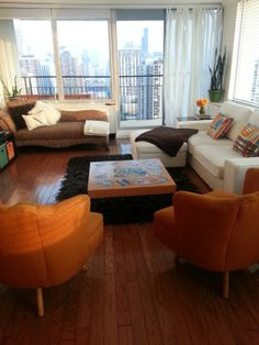 Like this small living room look: loveseat, 2 chairs, chaise.