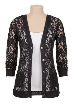 Textured floral lace cardigan (original price, $34) available at #Maurices