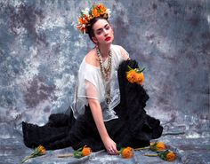 Frida Kahlo by CINQ Flowers and concept :Guy Debast Photographer: Isabella Abel  Model: Cornelia - Look Models Internnational Stylist : Judith Jules Beck  Hair and makeup: Roberto Caro  Fashion: J C HOERL  Jewelry: Petra Hauser