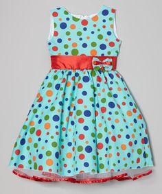 Teal Polka Dot A-Line Dress - Infant, Toddler & Girls | zulily