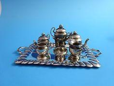 7 Piece Miniature Sterling Silver Tea Set  (2688)