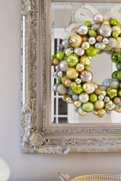 LiveLoveDIY: How To Make A Christmas Ornament Wreath
