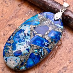 Blue Copper Turquoise Pendant with Solid Sterling Silver Findings.