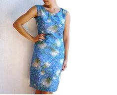 MONET French Vintage 50s Water Color Motifs Blue Dress by bOmode, $98.00