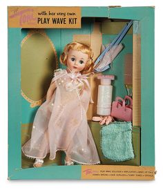 "Theriault's - 10"" Petite Toni Box Set with Play Wave Kit by American Character, c 1958"
