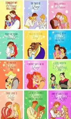 Disney makes the perfect love stories, except the Pocahontas one and Enchanted..those loves don't work out