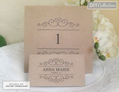 Printable Wedding Place Card & Table Number Templates, Name card, Table Number, Instant Download PDF