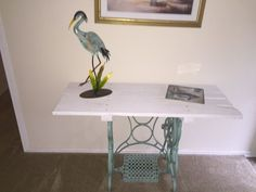 Accent Piece From An Old Sewing Machine Stand & Pallet Board Desks & Tables
