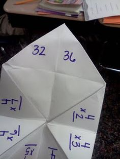 multiplication cootie catcher to practice 4 times tables- could have each student make one for different times tables then play with different partners