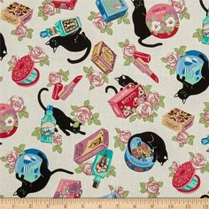 Cosmo Black Cat II Pampered Cats White from @fabricdotcom  Designed by Cosmo Japan for Springs Creative, this cotton print is perfect for quilting, apparel, and home decor accents. Colors include cream, shades of pink, green, purple, black, and blue.