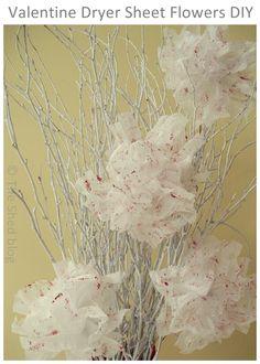 Valentine Dryer Sheet Flowers DIY from @Laura Jayson Jayson Jayson Kuhlmann