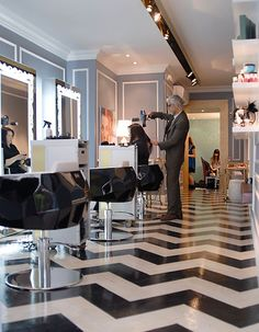 Chevron Floor with simple black chairs and mirrors. Recreate this look with The Gwyneth Styling Chair http://stand.sh/gwyneth paired with The Antique Silver Mirror http://stand.sh/silvermirror #salon #salondecor #hairsalon #salonequipment #barber #barbershop #inspiration #design