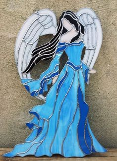 Stained Glass Panel Lady Angel D6 by TerrazaStainedGlass on Etsy, $198.00